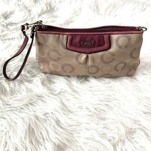 Coach Leather Canvas Credit Cards Wallet Bag